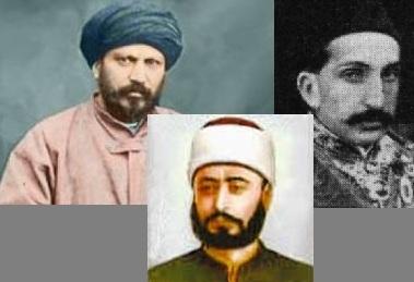 De Gauche à droite : Al-Afghani; Al-Kawakibi; Abd al-Hamid II