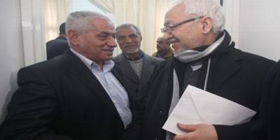Mrs Abbassi secrétaire général de l'UGTT et Ghannouchi leader du parti Ennahda.