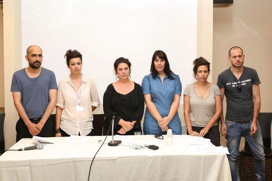 Shlomi Elkabetz, Tali Shalom Ezer, Keren Yedaya, Efrat Korem, Shira Geffen, Nadav Lapid lors de la conférence de presse au festival de Jérusalem, lundi 14 juillet.   DR