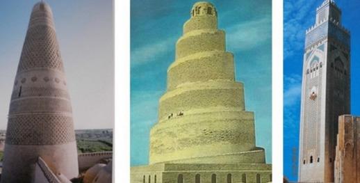 De Gauche à droite: Turfan, Chine- Mosquée du Vendredi, XVIIe siècle; Samara, Irak-Mosquée d'Abou Dowlaf-IXe siècle; Mosquée Hassan II  Casablanca, Maroc (XXe siècle)