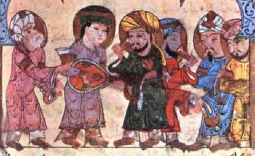 Avicenne entouré de quelques-uns de ses disciples – Miniature illustrant un ouvrage de médecine rédigé en Arabe – Bibliothèque ambrosienne de Milan.