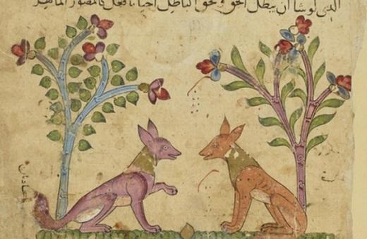 Ibn al-Muqaffa', Kalila wa Dimna, Égypte ou Syrie, XIVe siècle : Les chacals Kalila et Dimna en train de converser © BNF