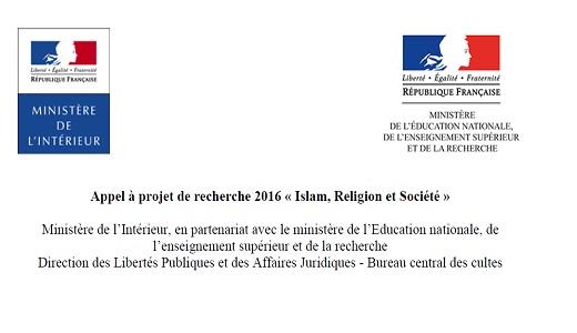 « Islam, religion, société » . Appels à projets de recherche 2016.