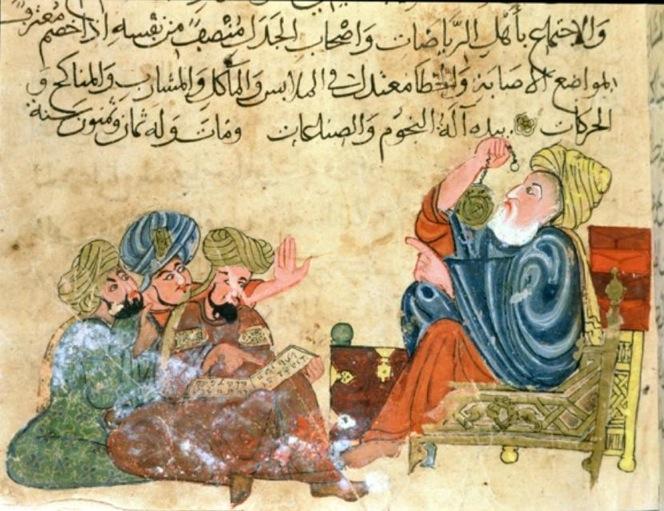 Aristote enseignant l'astronomie. La tradition scientifique arabe a été fortement influencée par le travail des savants grecs classiques, dont «la philosophie naturelle» qui représentait un système complet de connaissances qui englobait à la fois les sciences physiques et la métaphysique, et sur lequel les savants de la tradition islamique ont formulé de nombreuses observations. © musée du palais Topkapi, Istanbul.