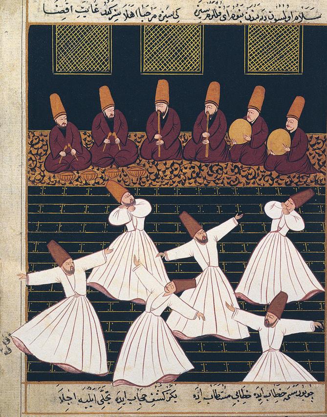Rituel des derviches tourneurs, Konya (Turquie), école ottomane, XVIIe siècle www.bridgemanimages.com