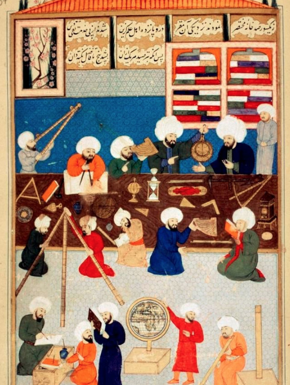 Taqi al-Din al-Shami al-Assadi et d'autres astronomes de l'Observatoire de Galata fondé en 1557 par le sultan Soliman.