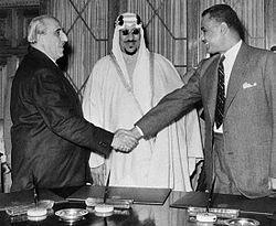 Shukri al-Kuwatli, Nasser et le roi Saud en Égypte. Source : Syrianhistory