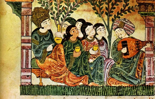 Bayâd chante en s'accompagnant du 'oûd. Histoire de bayâd et riyâd al andalus wa al maghreb. Histoire d'amour arabe