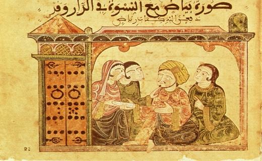 Bayâd dans une maison avec des femmes alors qu'il remet une lettre pour Riyâd. Histoire de Bayâd et Riyâd al andalus wa al maghreb. Histoire d'amour arabe