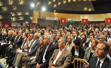 """Lors de la """"déclaration finale du congrès de dialogue national"""" - Photo UGTT"""