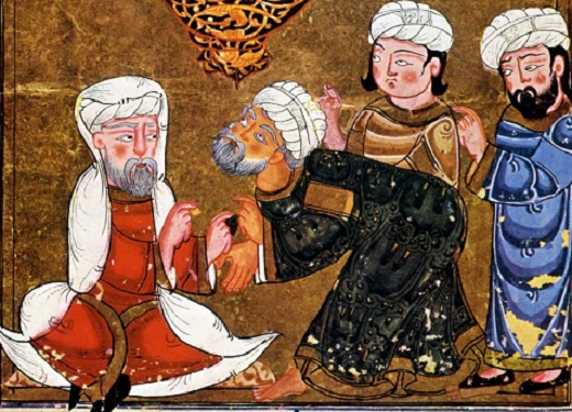 Abou zayd plaide devant le cadi de ma'arra  les séances d'al-harîrî Egypte.
