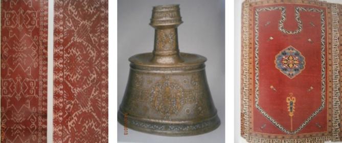 De Gauche à Droite : Broderies Zemmour, Musèe des Oudaïas, Rabat, Maroc; Chandelier laiton  damasquiné d'or et d'argent; Tapis de prière laine XV-XVIe siècle.
