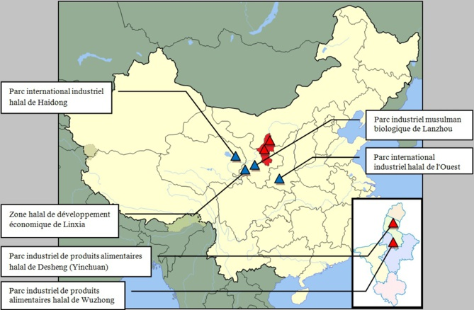 Carte des principaux centres de l'industrie alimentaire halal en Chine . (Le Ningxia est identifié en rouge)