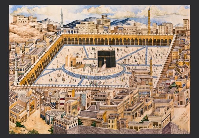 Vue générale de la Ka'ba. Peinture par Mahmud Malik. Datée de 1293 H (1876-1877 EC). Aquarelle sur papier. 49.2 cm x 59.2 cm. Museum of Islamic Art, Doha. MS.801.2011. © Museum of Islamic Art, Doha.