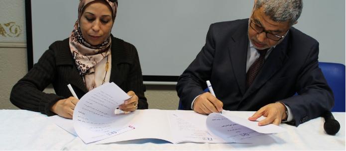 Signature d'une convention entre l'IESH de Paris et l'Université Mohamed V (Maroc). Copyright IESH de Paris. Logo et photo publiés avec l'aimable autorisation de l'IESH Paris.
