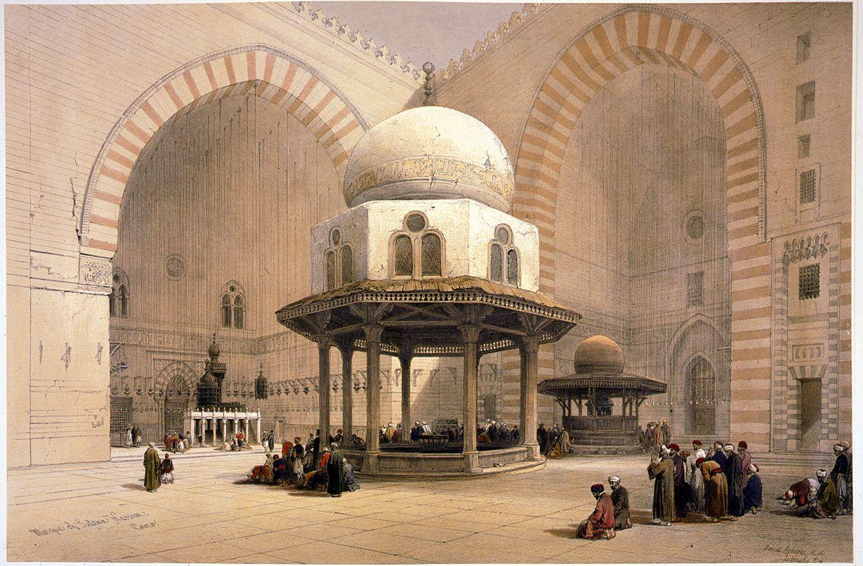 Intérieur de la mosquée madrassa Sultan Hassan. Pascal Coste - XIXe