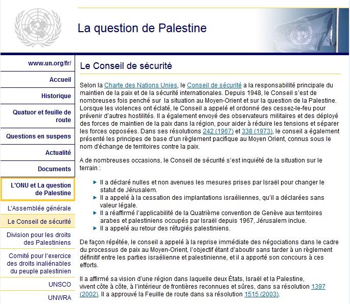ONU.La question de Palestine.