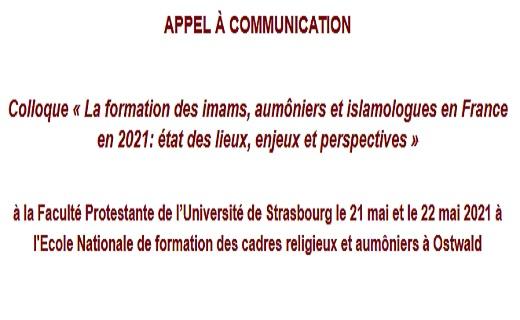 Colloque « La formation des imams, aumôniers et islamologues en France en 2021: état des lieux, enjeux et perspectives »