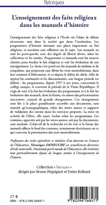 Véronique Deneuche, L'enseignement des faits religieux dans les manuels d'histoire