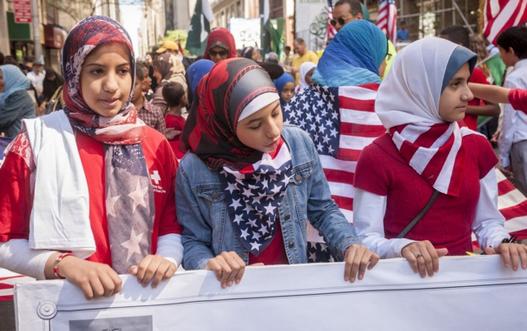 Les musulmans de trois Etats de la région se réunissant sur l'avenue de Madison à New York pour la 29 ème parade annuelle des musulmans américains en septembre. Crédit Photo CORBIS