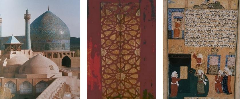 De gauche à droite: Grande Mosquée Royale  de Chah 'Abbas Ier, XVIIe siècle; Porte bois et ivoire Egypte Metropolitan Museum New York; Mir Havand - Mahomet et Ali débarassent  la Kasbah de ses idoles  Miniature tirée du ardin de la Pureté