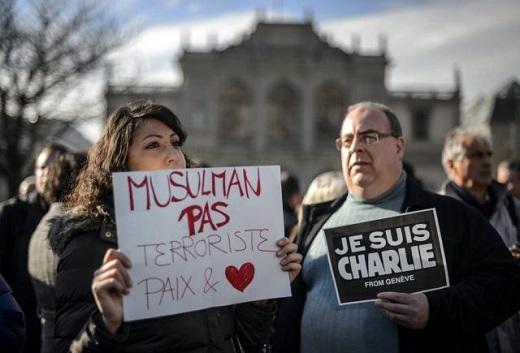 A Genève aussi on a manifesté en hommage aux victimes de Charlie Hebdo invitant à ne pas faire d'amalgame. | AFP/ouest-france.fr